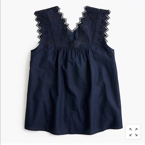 Jcrew Embroidered bib top navy size large